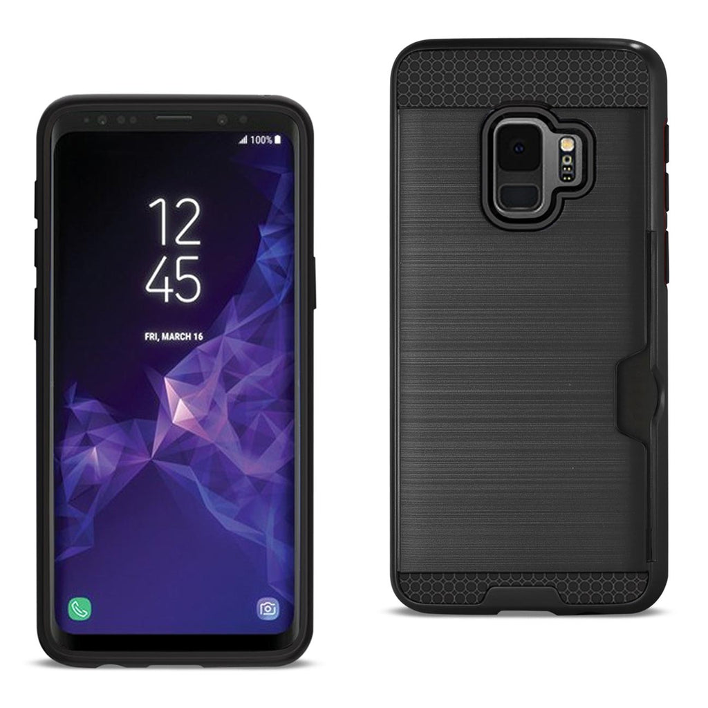 Reiko Samsung Galaxy S9 Slim Armor Hybrid Case With Card Holder In Black | MaxStrata