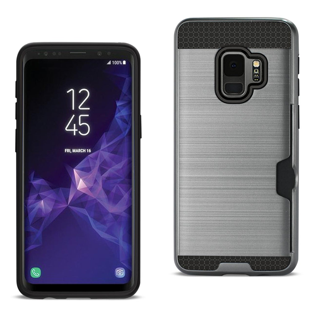 Reiko Samsung Galaxy S9 Slim Armor Hybrid Case With Card Holder In Gray | MaxStrata