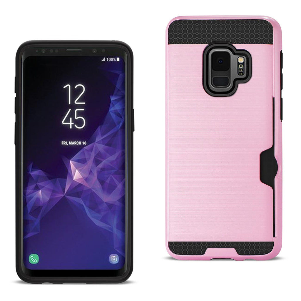 Reiko Samsung Galaxy S9 Slim Armor Hybrid Case With Card Holder In Pink | MaxStrata