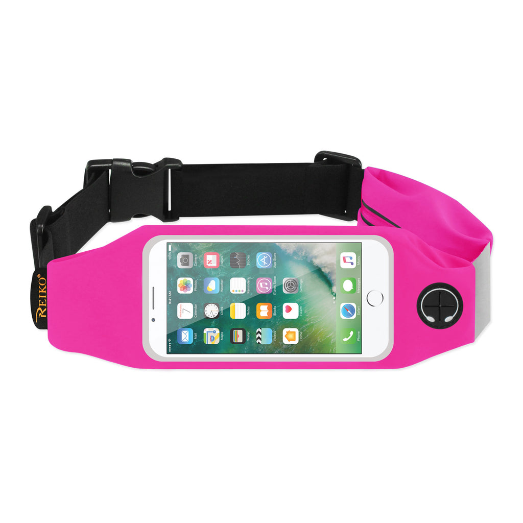 Reiko Running Sport Belt For iPhone 7/ 6/ 6S Or 5 Inches Device With Two Pockets In Pink (5X5 Inches) | MaxStrata
