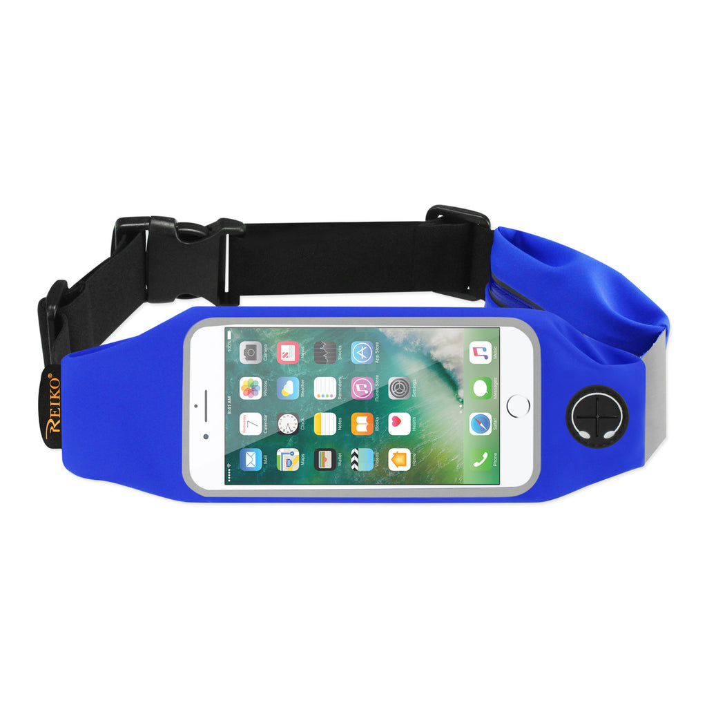 Reiko Running Sport Belt For iPhone 7 Plus/ 6S Plus Or 5.5 Inches Device With Two Pockets In Blue (5.5X5.5 Inches) | MaxStrata