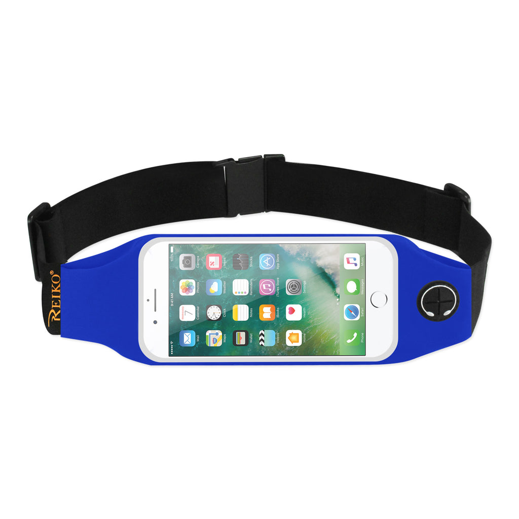 Reiko Running Sport Belt For iPhone 7 Plus/ 6S Plus Or 5.5 Inches Device With Two Pockets And LED In Blue (5.5X5.5 | MaxStrata