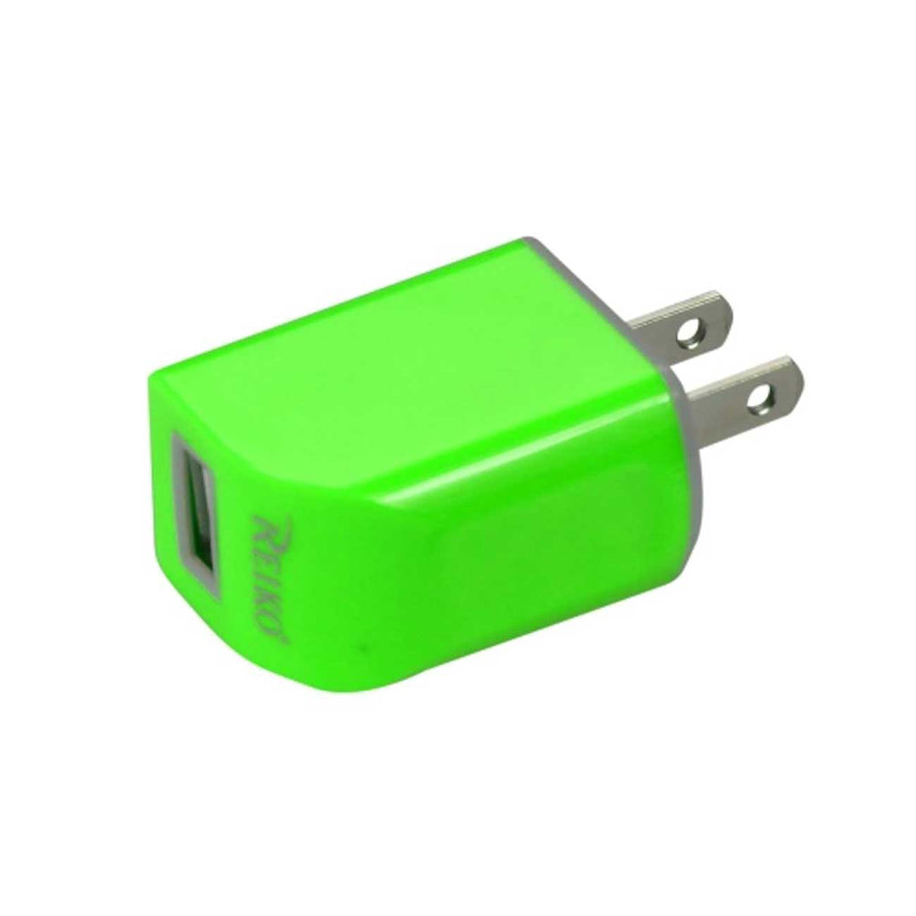 Reiko Micro USB 1 AMP Portable Micro Travel Adapter Charger With Cable In Green | MaxStrata