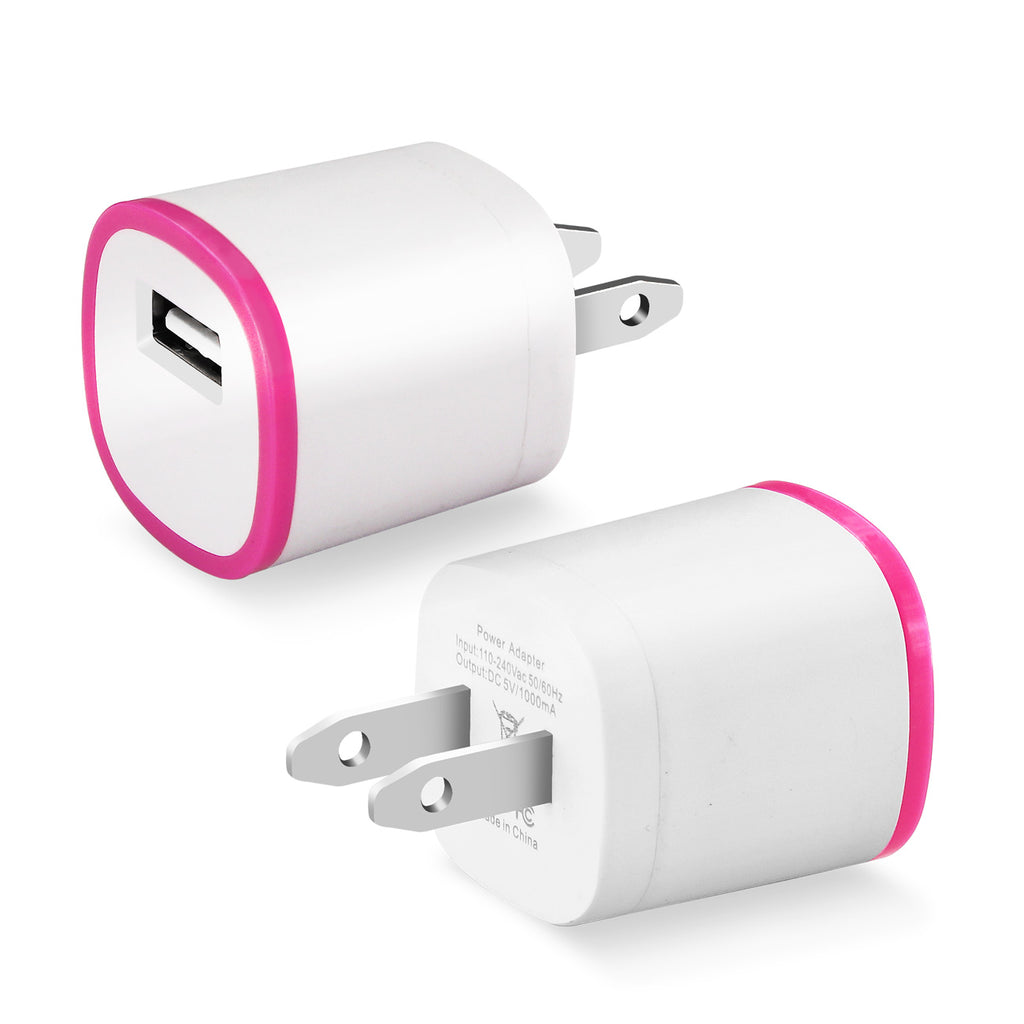 Reiko 1 AMP Dual Color Portable USB Travel Adapter Charger In Hot Pink White | MaxStrata
