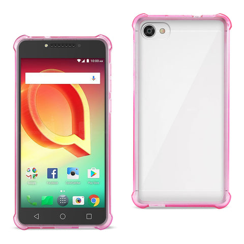 Reiko Alcatel Crave Clear Bumper Case With Air Cushion Protection In Clear Hot Pink | MaxStrata