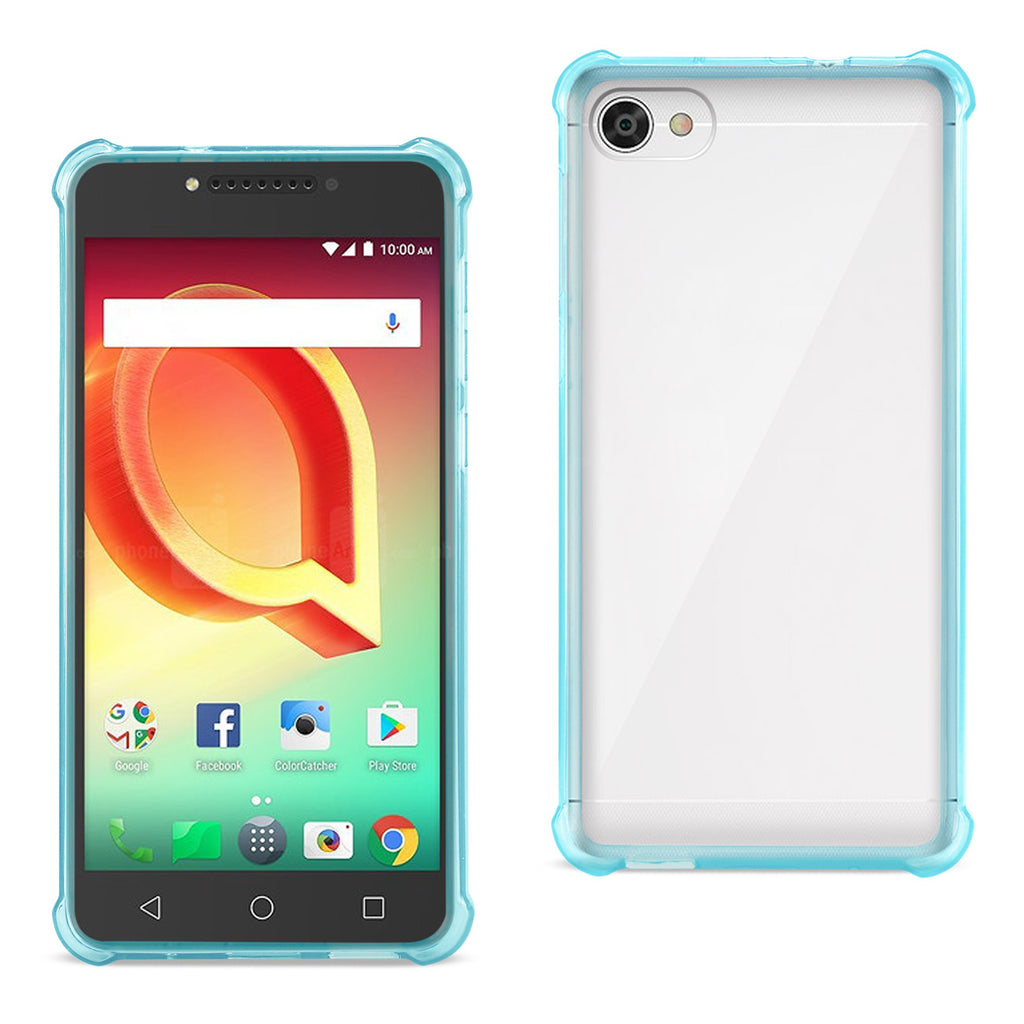 Reiko Alcatel Crave Clear Bumper Case With Air Cushion Protection In Clear Navy | MaxStrata