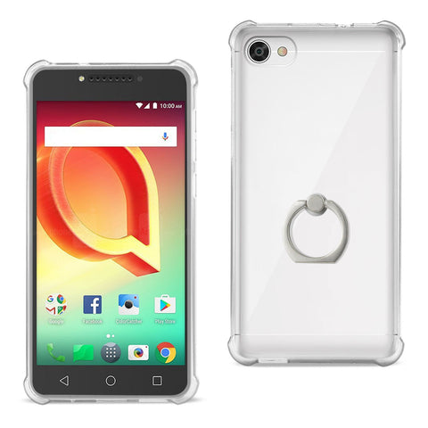 Reiko Alcatel Crave Transparent Air Cushion Protector Bumper Case With Ring Holder In Clear | MaxStrata