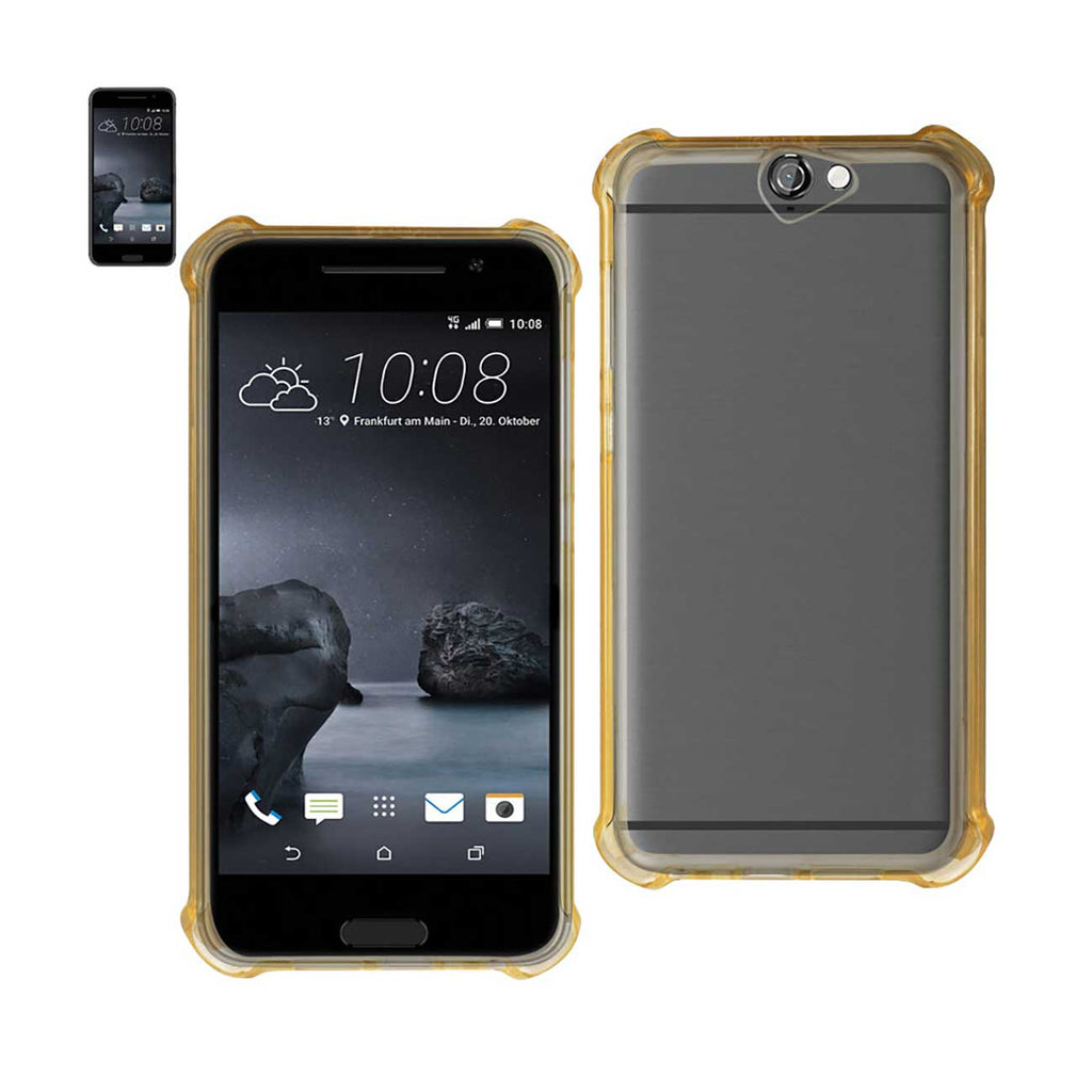 Reiko HTC One A9 Clear Bumper Case With Air Cushion Protection In Clear Gold | MaxStrata