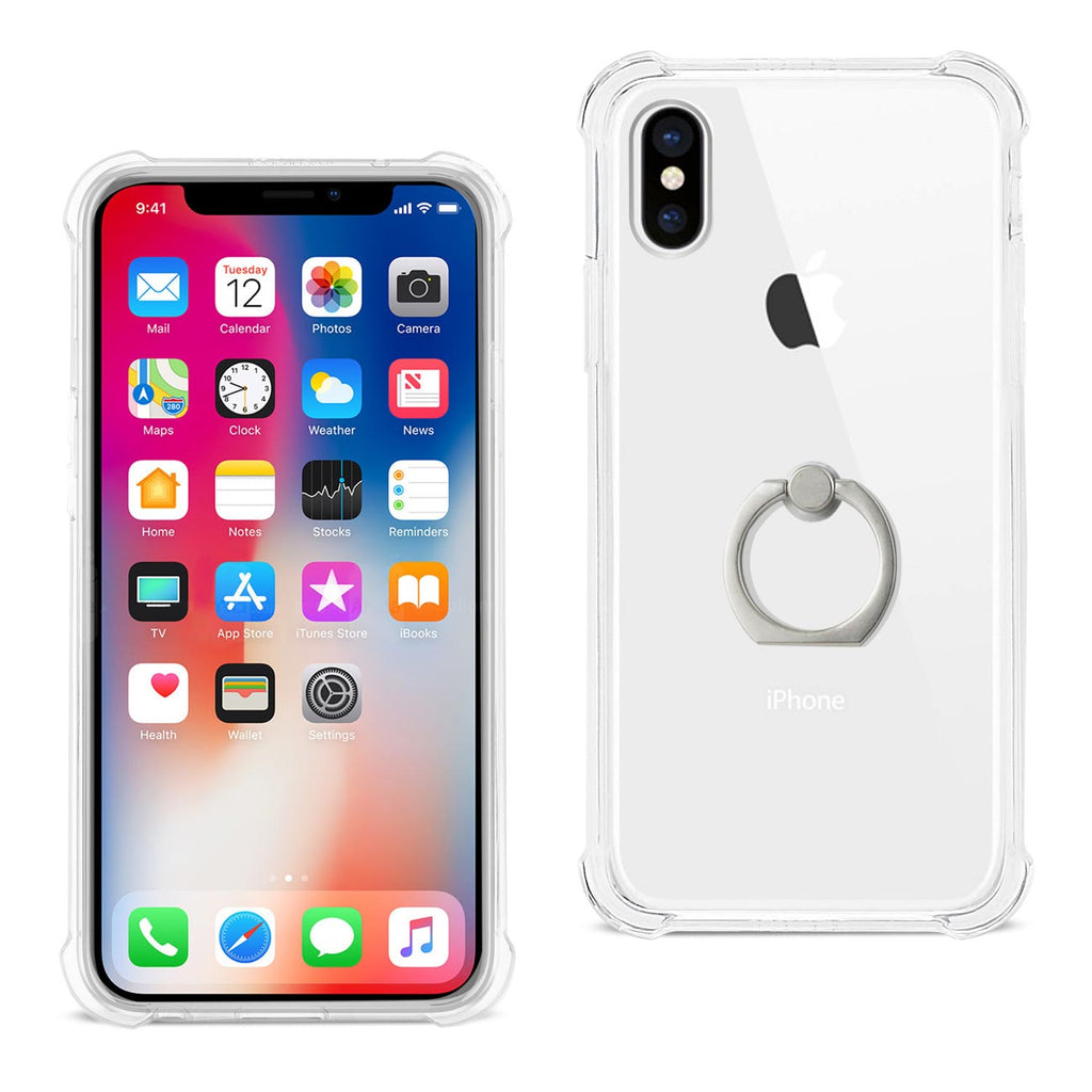 Reiko iPhone X/iPhone XS Transparent Air Cushion Protector Bumper Case With Ring Holder In Clear | MaxStrata