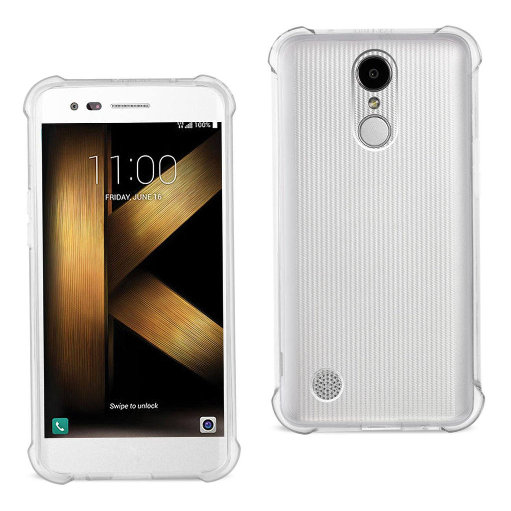 Reiko LG K20 V/ K20 Plus Clear Bumper Case With Air Cushion Protection In Clear | MaxStrata