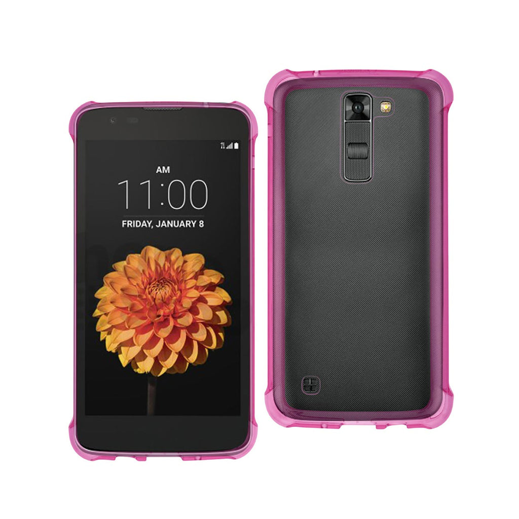 Reiko LG K7 Clear Bumper Case With Air Cushion Protection In Clear Hot Pink | MaxStrata
