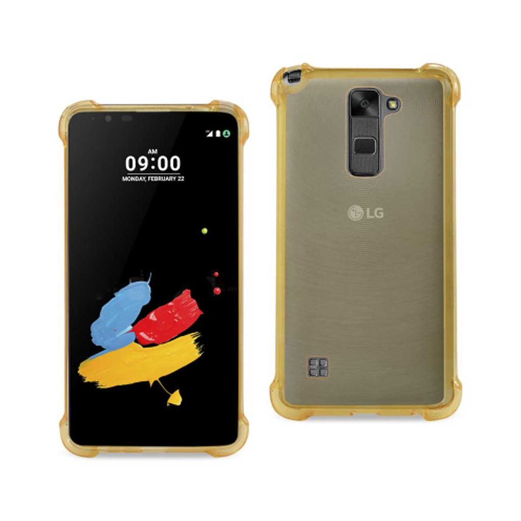 Reiko LG Stylus 2 Clear Bumper Case With Air Cushion Protection In Clear Gold | MaxStrata