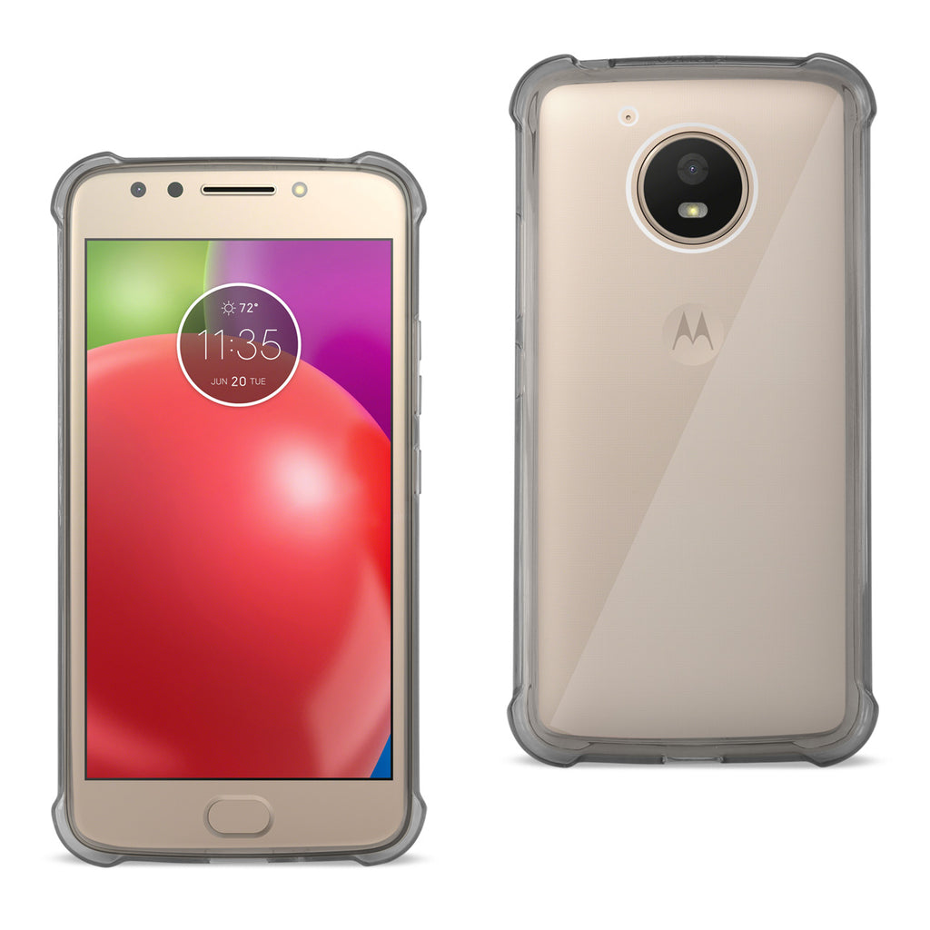 Reiko Motorola Moto E4 Active Clear Bumper Case With Air Cushion Protection In Clear Black | MaxStrata