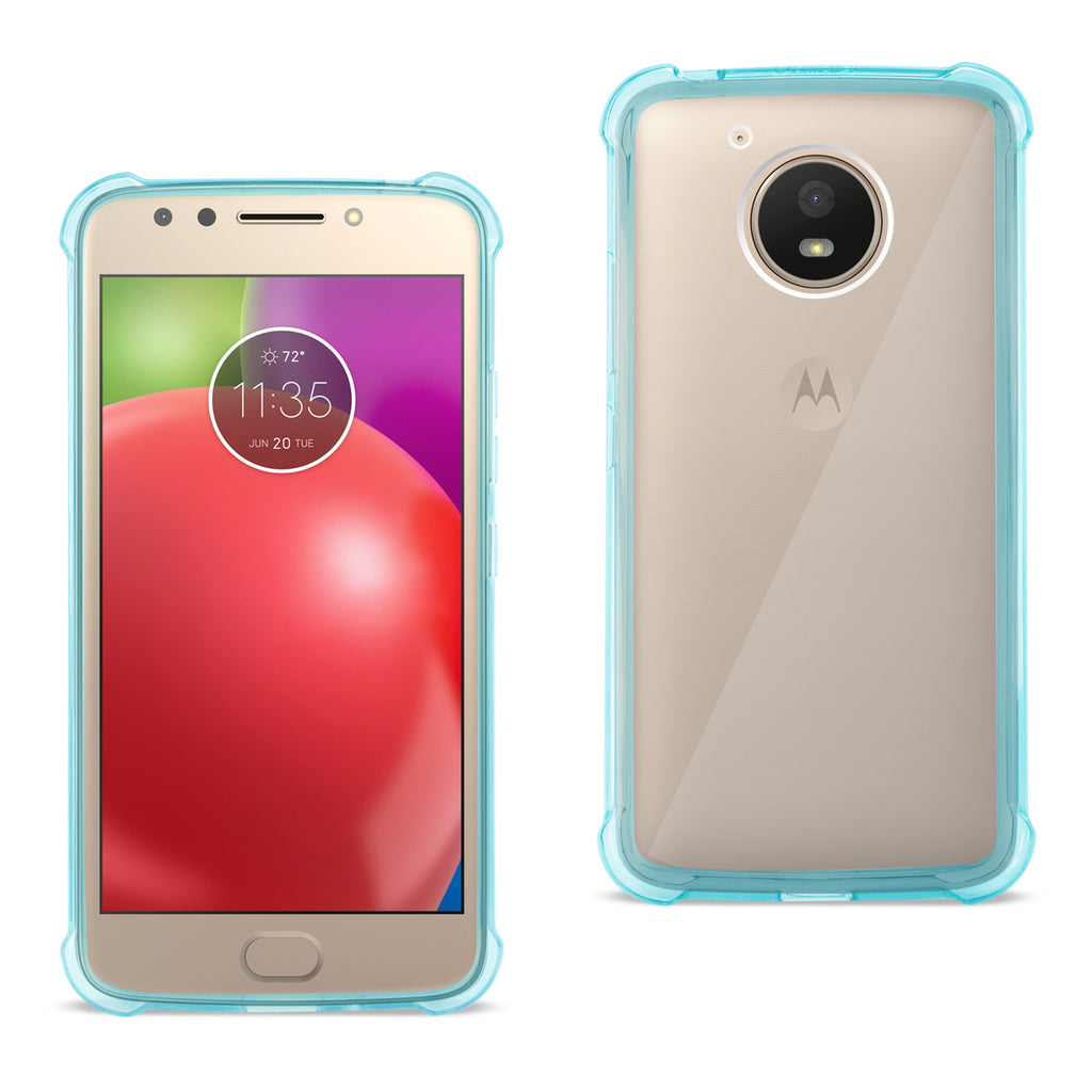 Reiko Motorola Moto E4 Active Clear Bumper Case With Air Cushion Protection In Clear Navy | MaxStrata