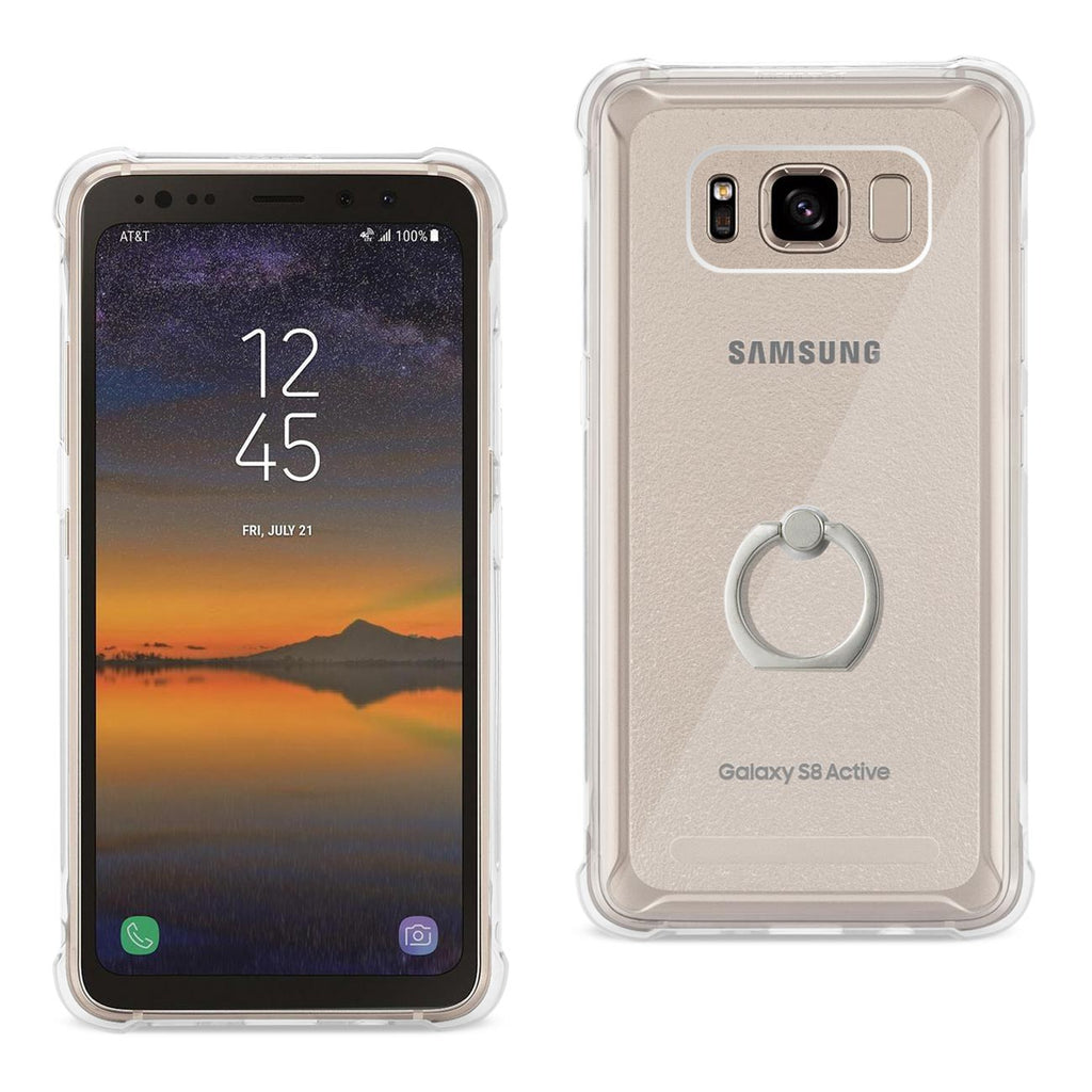 Reiko Samsung Galaxy S8 Active Transparent Air Cushion Protector Bumper Case With Ring Holder In Clear | MaxStrata