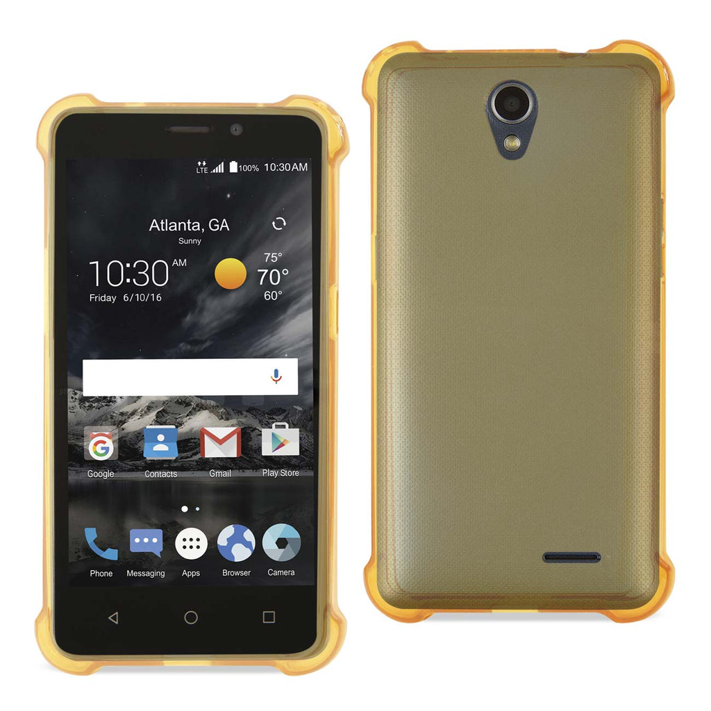 Reiko ZTE Maven 2/ Chapel (Z831) Clear Bumper Case With Air Cushion Protection In Clear Gold | MaxStrata