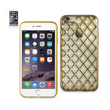 Reiko iPhone 6S Plus Flexible 3D Rhombus Pattern TPU Case With Shiny Frame In Gold | MaxStrata
