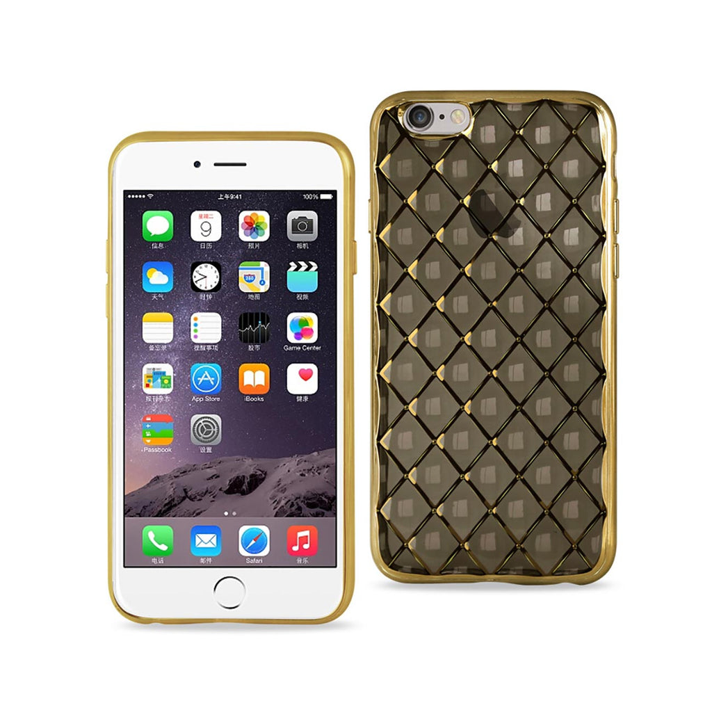 Reiko iPhone 6S Flexible 3D Rhombus Pattern TPU Case With Shiny Frame In Black | MaxStrata
