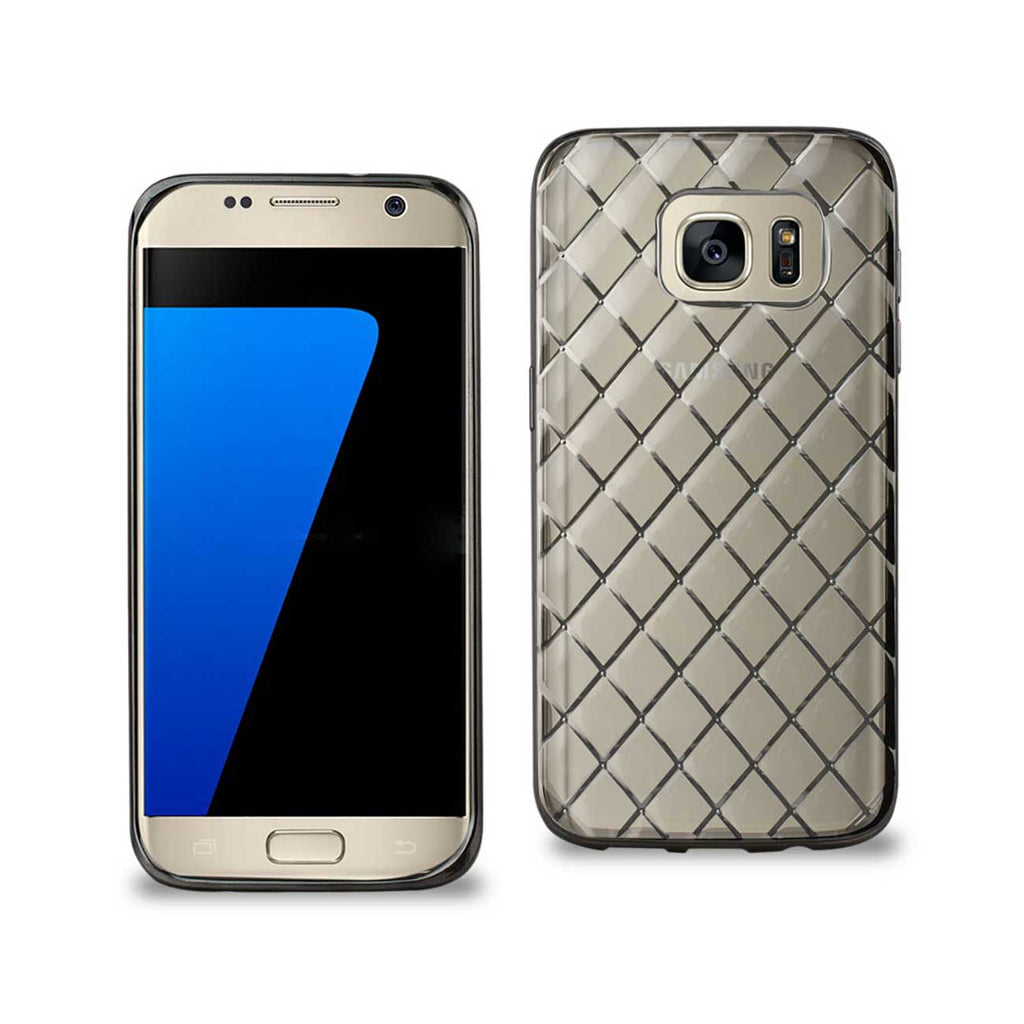 Reiko Samsung Galaxy S7 Flexible 3D Rhombus Pattern TPU Case With Shiny Frame In Clear | MaxStrata
