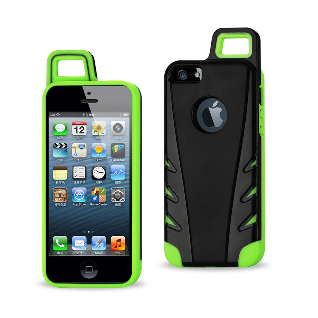 Reiko iPhone 5/5S/SE Dropproof Workout Hybrid Case With Hook In Black Green | MaxStrata