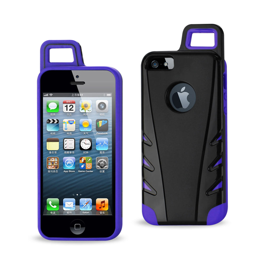 Reiko iPhone 5/5S/SE Dropproof Workout Hybrid Case With Hook In Black Purple | MaxStrata
