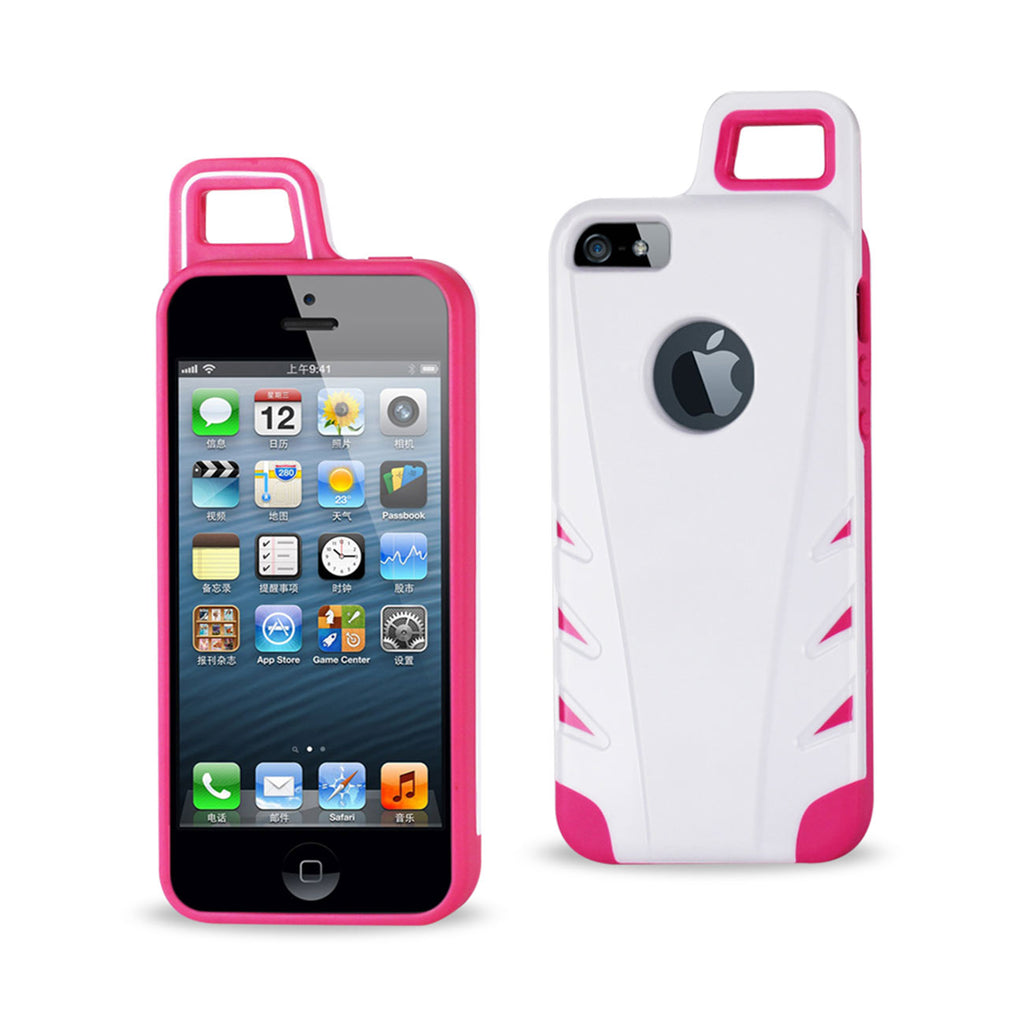 Reiko iPhone 5/5S/SE Dropproof Workout Hybrid Case With Hook In White Pink | MaxStrata