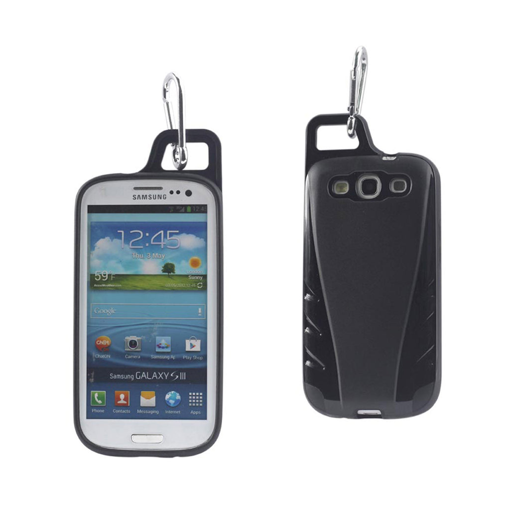 Reiko Samsung Galaxy S3 Dropproof Workout Hybrid Case With Hook In Black | MaxStrata