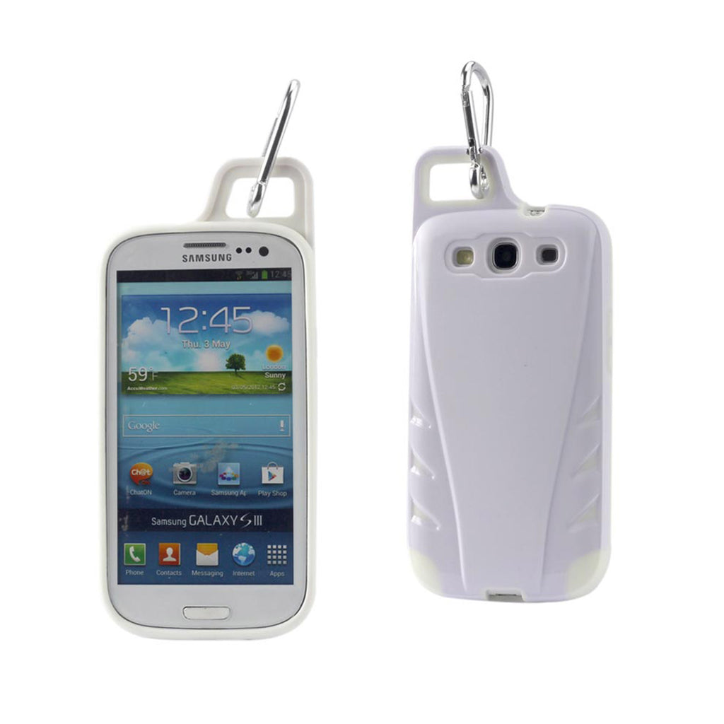 Reiko Samsung Galaxy S3 Dropproof Workout Hybrid Case With Hook In White | MaxStrata