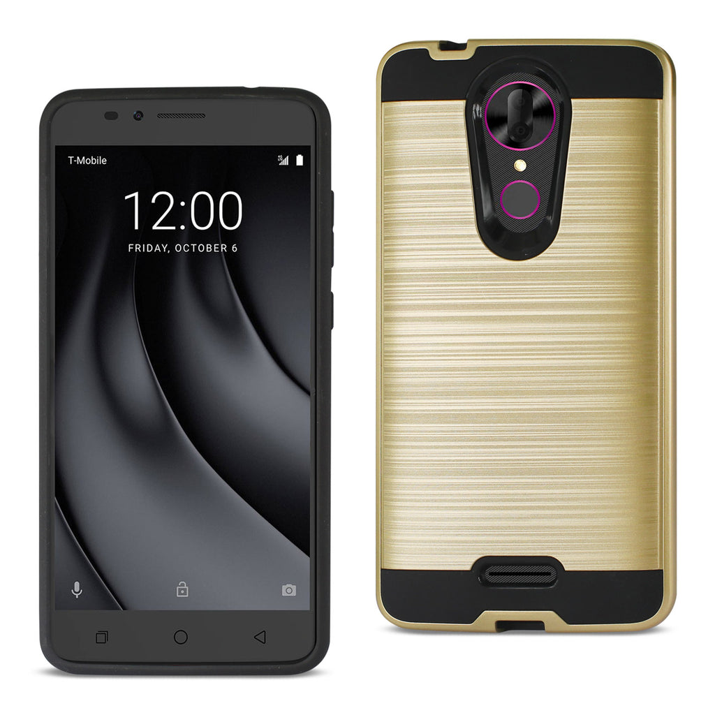 Reiko Coolpad REVVL Plus Hybrid Metal Brushed Texture Case In Gold | MaxStrata