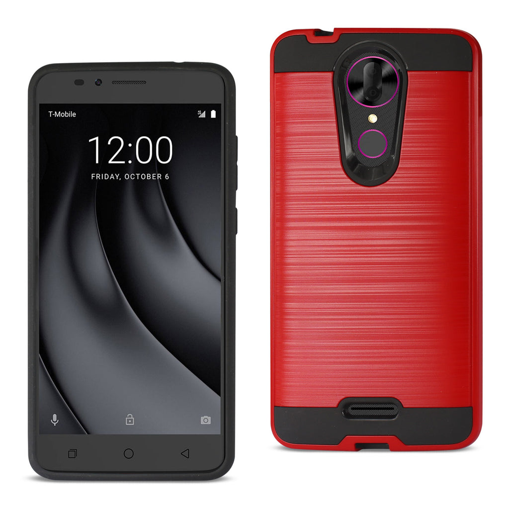 Reiko Coolpad REVVL Plus Hybrid Metal Brushed Texture Case In Red | MaxStrata