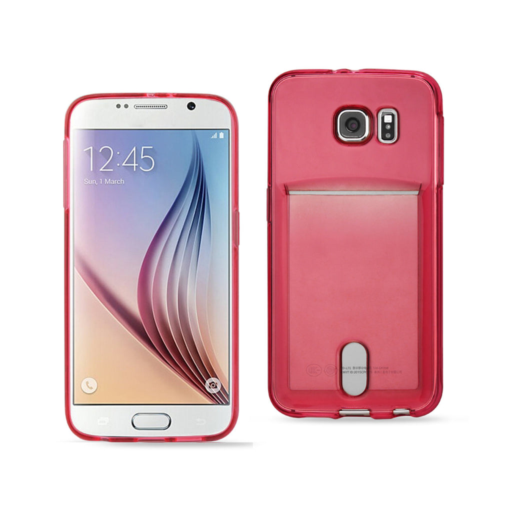 Reiko Samsung Galaxy S6reiko Semi Clear Case With Card Holder In Clear Red | MaxStrata