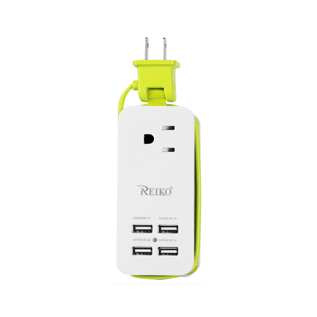Reiko 4.1 AMP 4 USB Home Wall Charging Station In Green | MaxStrata