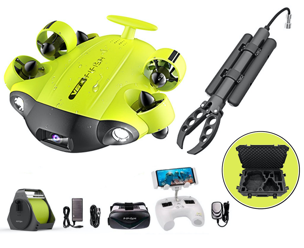 QYSEA FIFISH V6S Underwater Drone - Robotic Arm Claw + VR Box + 100M Cable + Spool + 64G SDcard + Industrial Case Bundle | MaxStrata