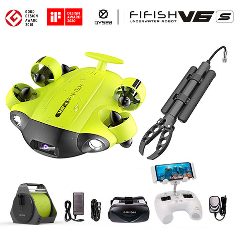 QYSEA FIFISH V6S Underwater Drone with Robotic Arm Claw + VR Box + 100M Cable + Spool + 64G SD-card Bundle | MaxStrata
