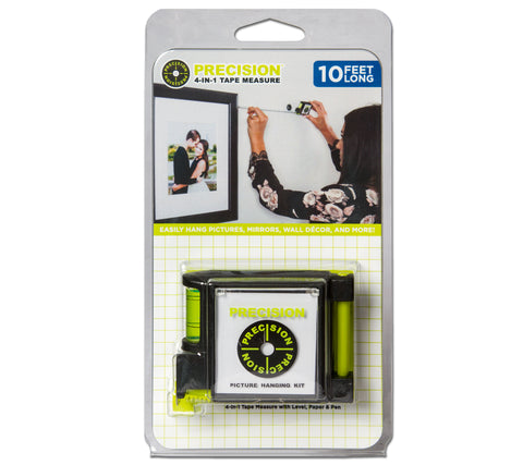 Precision 4-in-1 Tape Measure with Level, Paper & Pen