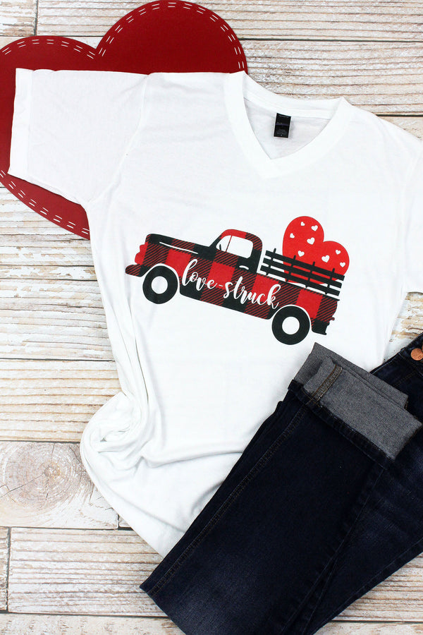 Buffalo Plaid Love Struck Unisex Poly-Rich Blend V-Neck Tee