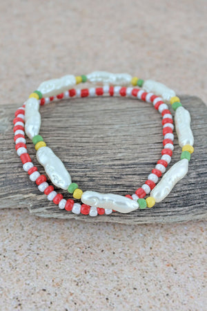 Elongated Pearl and Red Seed Bead Anklet Set