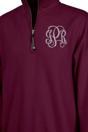 Charles River Quarter Zip Sweatshirt (Men's Cut), Maroon *Personalize It!