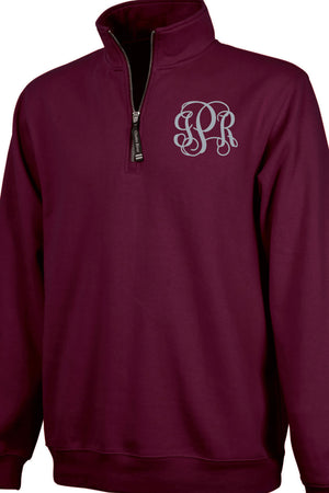 Charles River Quarter Zip Sweatshirt (Men's Cut), Maroon #9359 *Personalize It!