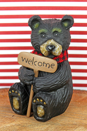 4 x 2.25 Resin Black Bear with Welcome Sign Tabletop Decor