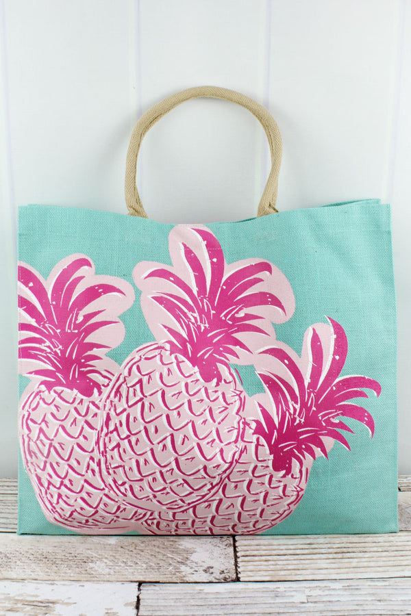 Aruba Blue and Pink Pineapple Jute Carryall Tote