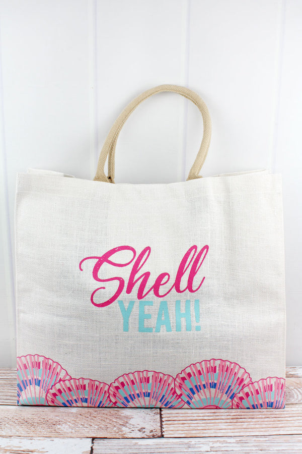 Shell Yeah! Pink and Blue Jute Carryall Tote