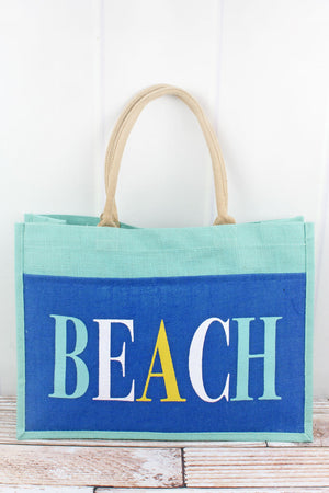 Beach Blue Jute Pocket Tote