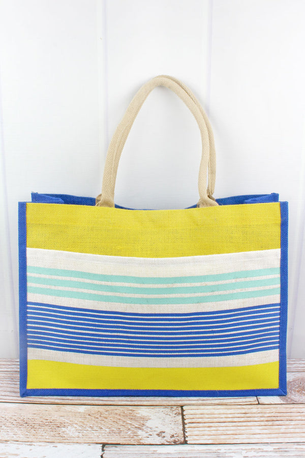Paradise Stripe Royal and Yellow Jute Pocket Tote