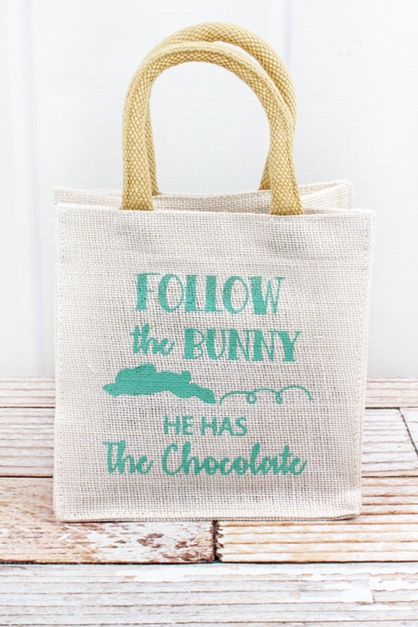 Follow the Bunny Petite Jute Gift Tote