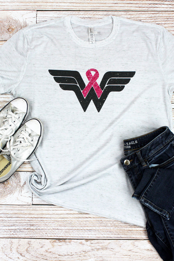 Pink Ribbon Wonder Woman Blizzard Jersey Short Sleeve T-Shirt