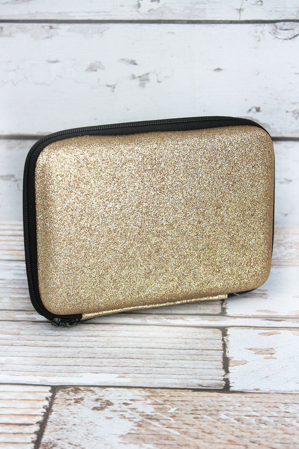 Gold Glitter Travel Cosmetic Case