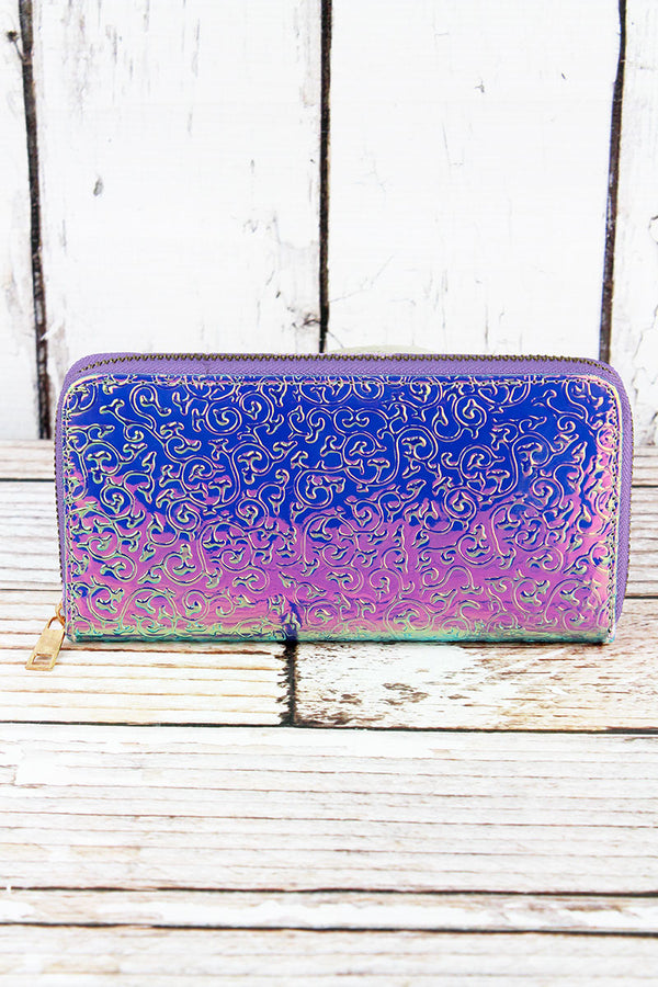 Iridescent Scroll Organizer Clutch Wallet