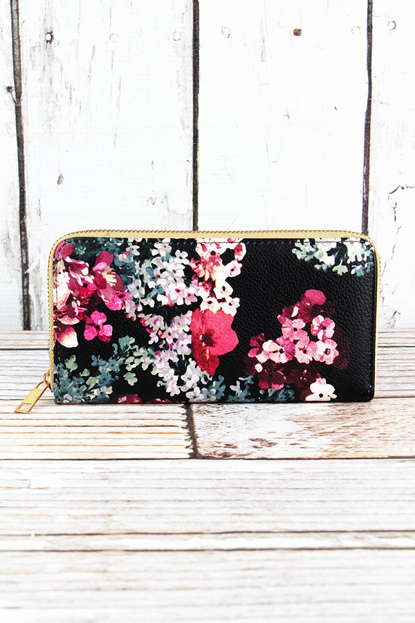 Cherry Blossom Black Organizer Clutch Wallet