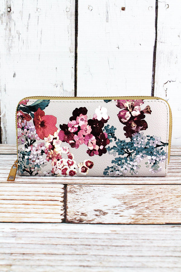Cherry Blossom Taupe Organizer Clutch Wallet
